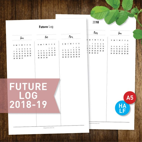 Future Log 2018-2019 PRINTABLE Yearly Planner Half-Letter A5