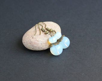 Moonstone earrings blue Faceted bead earring light blue Moonstone jewelry earrings Moonstone beaded earrings Round moonstone earrings gift