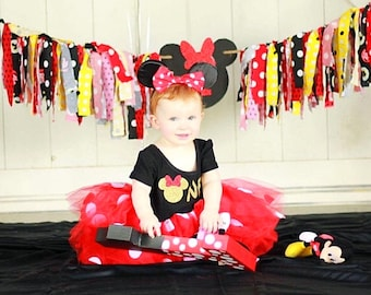 First Birthday Outfit / Minnie Mouse Birthday Outfit Tutu Dress / Minnie Mouse Ears / Polka Dot Tutu Dress / Disney Birthday Outfit