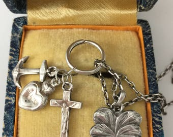 Faith, Hope, Charity, Four Leaf Clover Brittany Sailors Wives Solid Silver Vintage Religious Pendants French Hallmarks