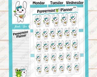 Jelly Bean eating healthy --- Hand Drawn --- Planner Stickers --- 264