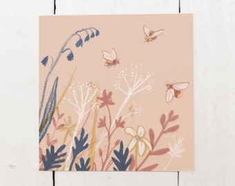 Bees and Flowers - Blank Square Greeting Card