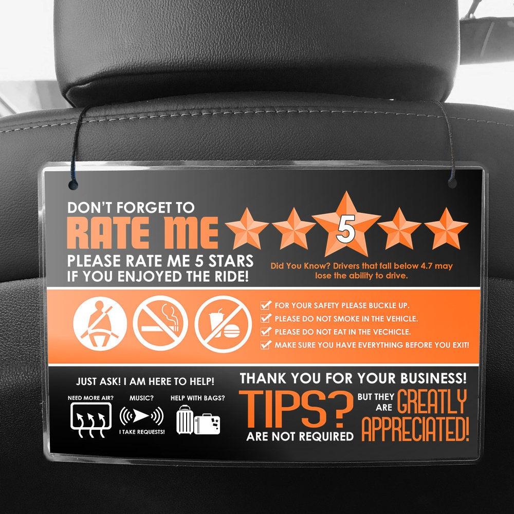 uber lyft driver car seat headrest rating tip signs pair of. Black Bedroom Furniture Sets. Home Design Ideas