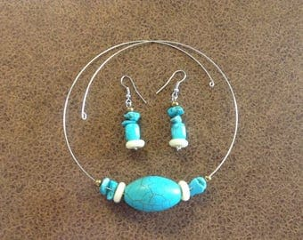 Turquoise Beaded Choker and Earring Set