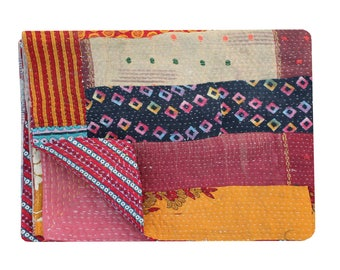 Indian Vintage Cotton Sari Patchwork Kantha Quilt Handmade Kantha Bedspread Reversible Kantha Throw Hand Stitched Kantha Blanket