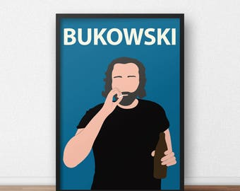 Charles Bukowski Poster Print // Gift, Dorm Decor, Minimalist, Poet, Author, Literature, Book