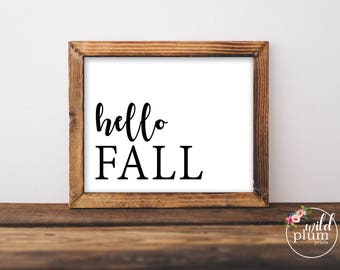 Hello Fall Printable, Fall Printable- Instant Download