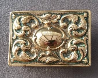 Vintage Brass, Match box holder, Embossed brass, Brass ornament, Brass match case, Matches, Tobacciana, Lighter, Match striker case