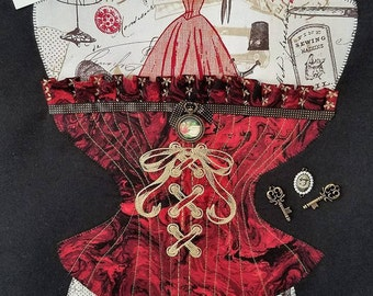 Vintage looking Corset wall hanging ready for a frame