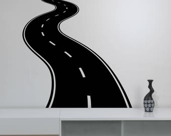 Curved Road Wall Sticker Traffic Speedway Vinyl Decal Highway Horizontal Winding Way Art Racing Decorations for Home Boys Room Decor rd2