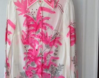 1970s Vintage Vera Neumann Blouse with Pink Tiger Lillies