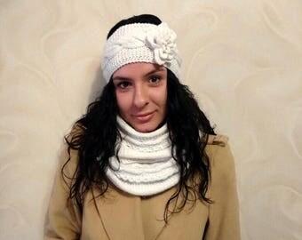 White Knit Headband, Boho Knit Turband, Knit Winter Accessories, Knit Turban Headband, Winter Hairband, Knitted Headband, Chunky Headband