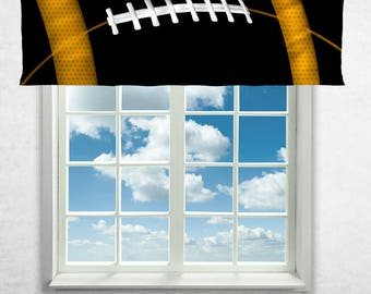 Football Curtain or Valance, Football Team Colors, Window Curtain, Football Valance, Personalized, Black, Yellow, Football Theme Curtains