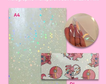 STOCK CLEARANCE SALE - Star Rainbow Holographic Transparent Self Adhesive Sticker Film Sheets