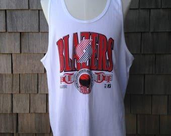 Vintage 90s Portland Trail Blazers Tank Top T Shirt - XL - Trailblazers