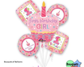 1st B-Day Sweet Little Cupcake Girl Bouquet - First Birthday Cupcake, Baby Girl's 1st Birthday Party - Sweet Baby Girl