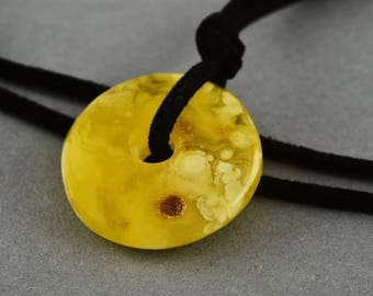 White & Butter Genuine Baltic Amber Donut On Leather String