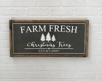 Farm Fresh Christmas Trees Sign | Christmas Sign | Farmhouse Christmas | Farmhouse Holiday | Christmas Decor | Hand Painted