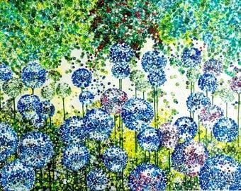 Blue Alliums Giclée Print