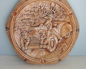 Vintage Deer and Hunters Ashtray, Vintage Ceramic Ashtray, Unique Gift, Hunter's Gift, Men's Gift, Man Cave Decoration, Hunting Decoration