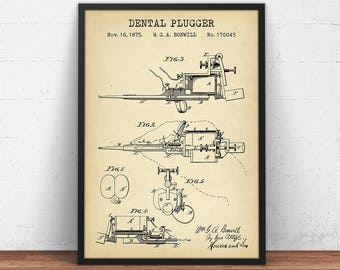 Electro Magnetic Dental Plugger Patent Print, Dental Wall Art, Dental Poster Printable, Dentistry, Dentist Decor, Dental Assistant Gifts