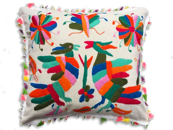 Mexican hand embroidered pillow. 4545cm /1818inches.