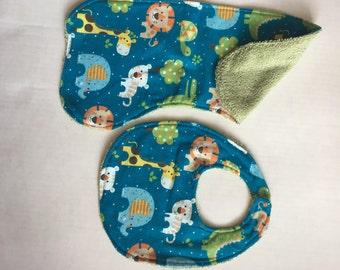 Baby Zoo Animal bib and burp cloth set