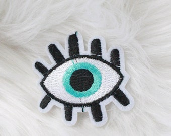 Blue Evil Eye Tumblr DIY Iron-on Embroidered Patch!