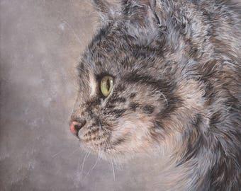 """Giclée Print -  """"Tiny Cat"""" - Original, Cat Painting - Gouache - cat art, pet painting"""