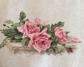 Pink roses cross stitched handmade