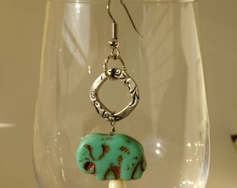Southeast Asian Inspired Turquoise Elephant Earrings with Hand-carved Wooden Bead Accent