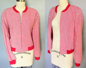 candy striper / 90s red and white striped knit bomber jacket / medium
