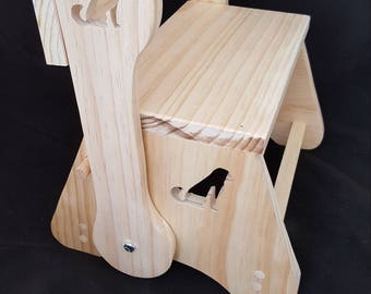 Kids size chair and step stool, rustic and durable made from solid pine wood with dog design