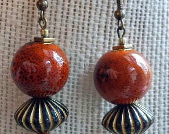 groovy glazed earrings, rust striped