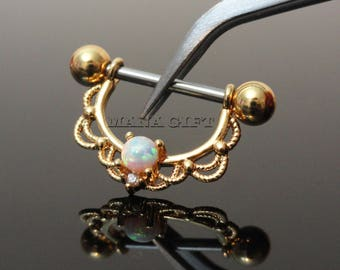 White Opal Centered Filigree Nipple Ring, Gold Nipple Shield, Opal Nipple Piercing, 14G, Surgical Steel Body Jewelry, H 261