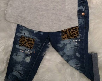 Leopard Hand Distressed Jeans