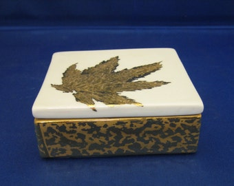Hand painted porcelain box with gold leaf design
