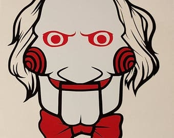 Jigsaw Vinyl Decal from the Creepy Horror Movie Saw