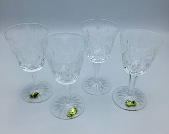 Waterford Crystal Wine Glasses, Lismore White Wine Glasses, 3 w/ ORIGINAL STICKERS. Waterford's preeminent design for 60 years.