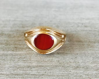 14k solid yellow gold carnelian vintage ring
