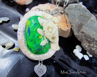 """Necklace pendant """"The White Rose"""""""