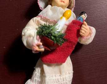 Vintage, Christmas, Ornament, Baby Doll, Holding, Candle and Stocking