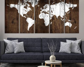 5 Piece Extra Large Wall Art Watercolor World Map Canvas Print   Snow White  World Map