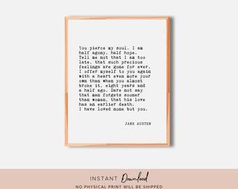 Literary Print, Jane Austen, Literary Quote, Book Quote Wall Art, Book Print, Quote Print, Book Quote Print, Book Quote, Book Art
