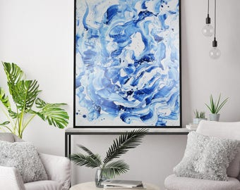 Blue Flame - Unique Abstract Acrylic Painting