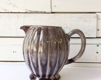 Vintage ceramic brown and cream pitcher | handmade pitcher | ceramic vase
