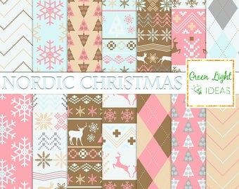Nordic Christmas Digital Papers, Christmas Scrapbook Paper, Holiday Xmas Background, Christmas Digital Pattern, Commercial Use, Winter Paper
