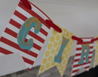 Circus birthday or baby shower banner | Circus party decorations | Circus theme | Carnival banner | Carnival party decorations