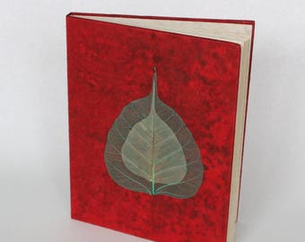 Eco-Friendly Handmade Lokta Bark Paper Journal | Red Leaves Natural Notebook | Unique Sustainable Hard Cover Diary Nepal | Fair Trade