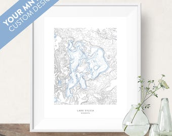 Your Minnesota Lake Topographic Map Contour Print Poster, Blue Gray White Art Print, Perfect for Cabin or Lake Home Wall Decoration